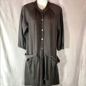 Free People Vintage Button Down Tunic W Tie, Med